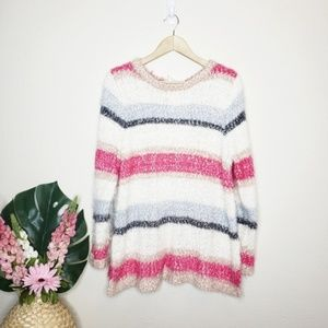 Lane Bryant Multicolored Striped Fuzzy Sweater